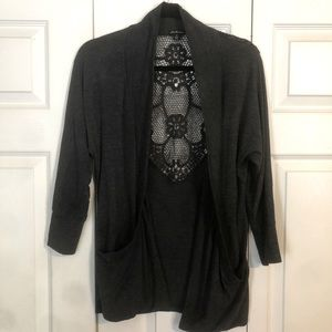 DNA COUTURE Small Gray Open Cardigan Crochet Back